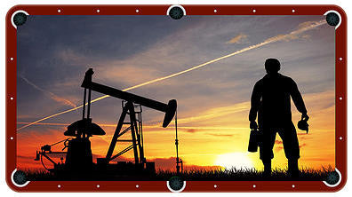 Oilfield Pump And Worker Billiards Cloth