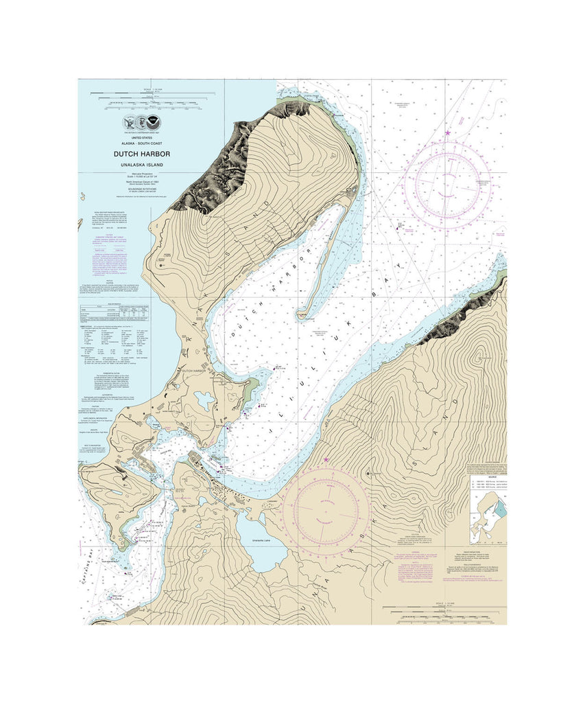 Dutch Harbor, Alaska Nautical Chart Vinyl Print
