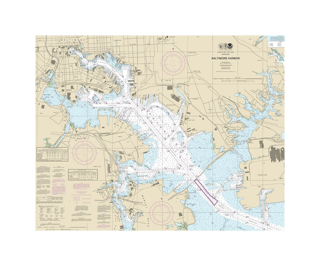 Baltimore Harbor - Chesapeake Bay Nautical Chart Vinyl Print