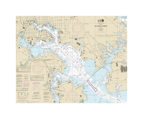 Baltimore Harbor - Chesapeake Bay Nautical Chart Sailcloth Print