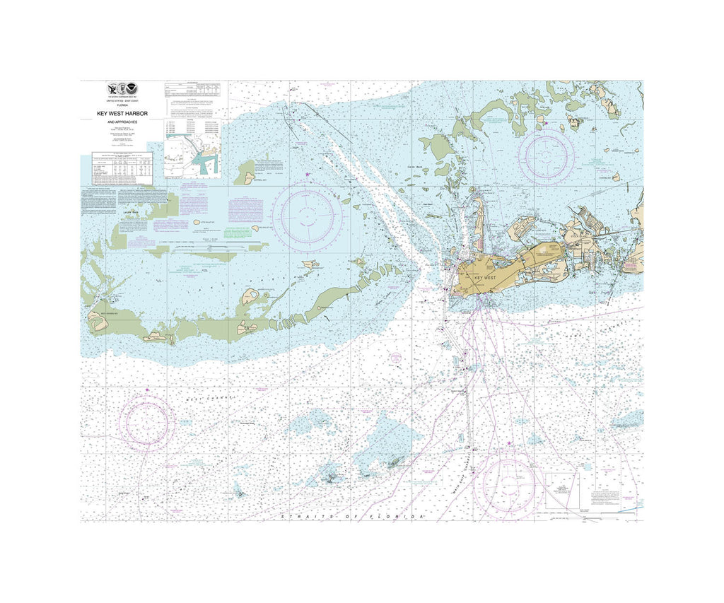 Key West Harbor and Approaches Nautical Chart Vinyl Print