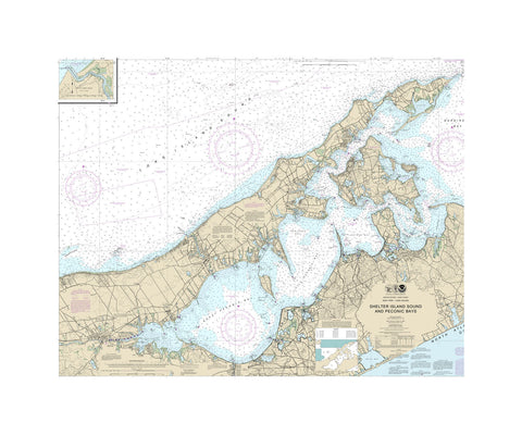 New York - Shelter Island Nautical Chart Vinyl Print