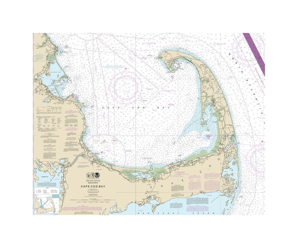 Cape Cod Bay Nautical Chart Sailcloth Print