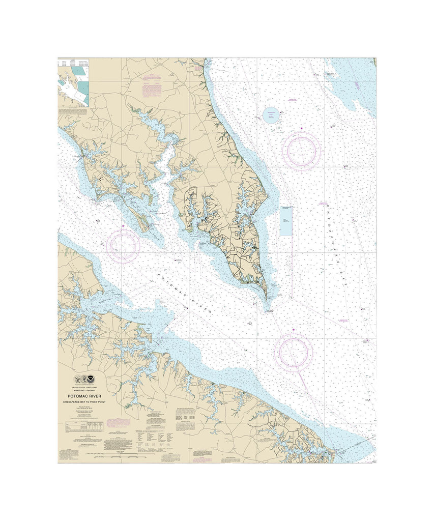 Potomac River, Chesapeake To Piney Point Nautical Chart Sailcloth Print
