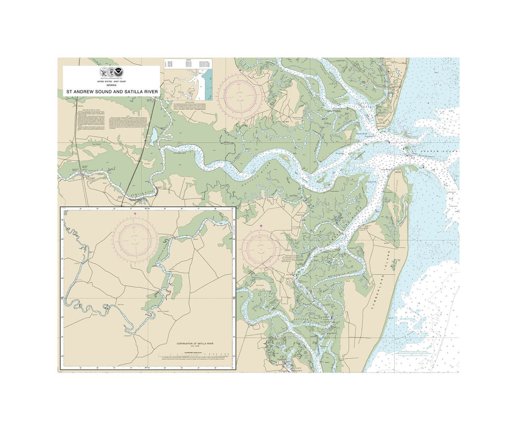 St. Andrew Sound and Satilla River, Georgia Nautical Chart Sailcloth Print