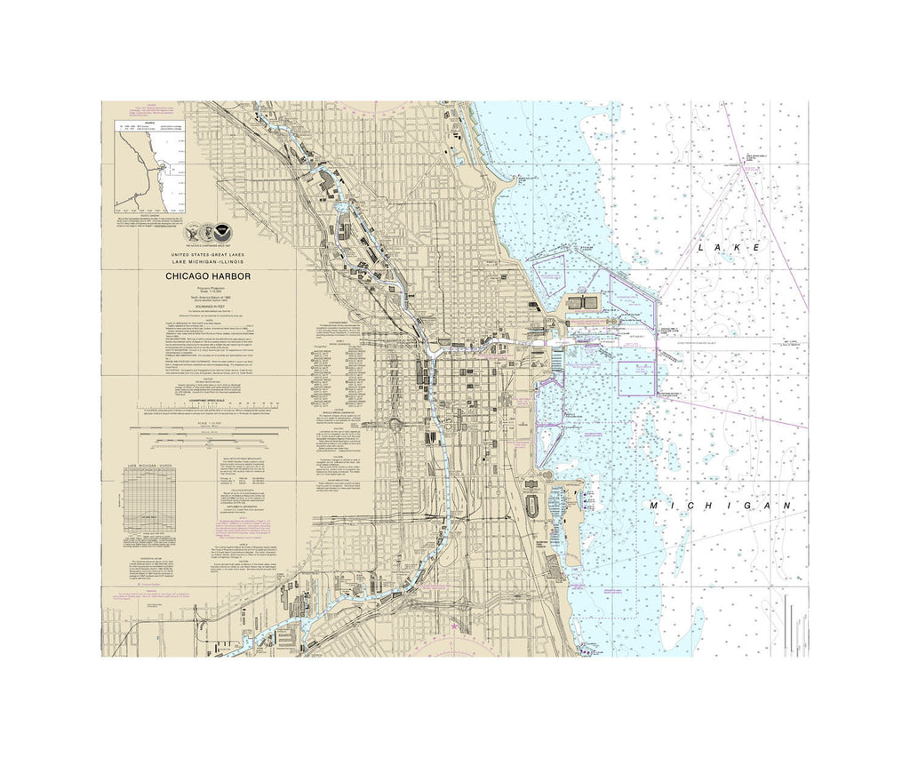 Chicago Harbor - Lake Michigan Nautical Chart Sailcloth Print