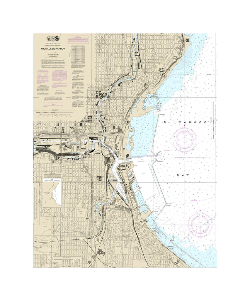 Milwaukee Harbor Nautical Chart Sailcloth Print