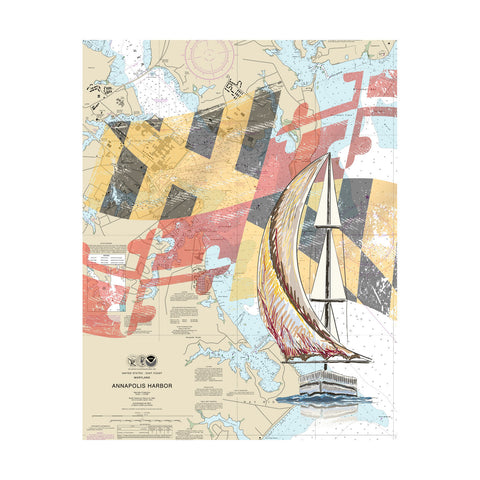 Annapolis Harbor With Sailboat Nautical Chart Vinyl Print