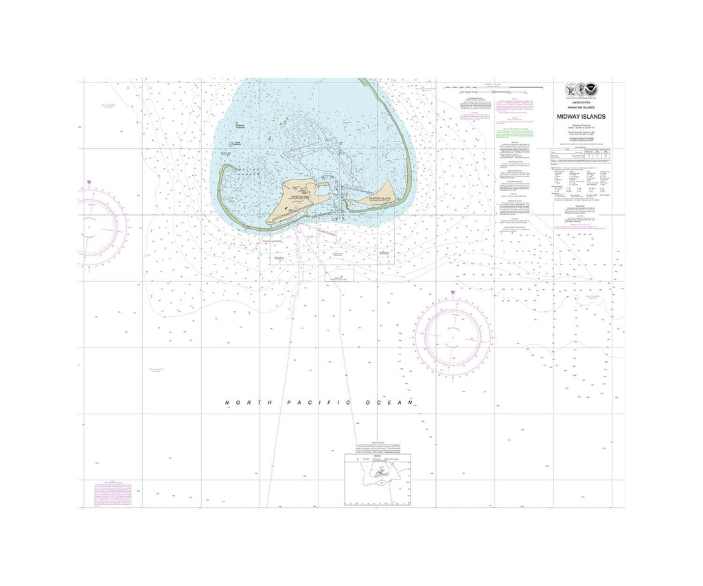Hawaii - Midway Islands Nautical Chart Vinyl Print