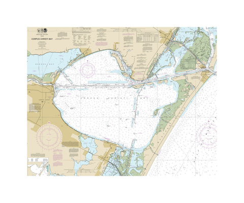 Corpus Christie Bay Nautical Chart Vinyl Print