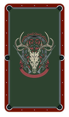 Skull With Rifles Billiards Cloth