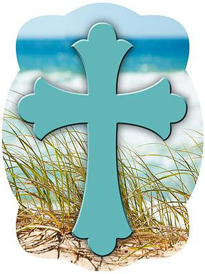 Cross On Emerald Coast Background Door Hanger