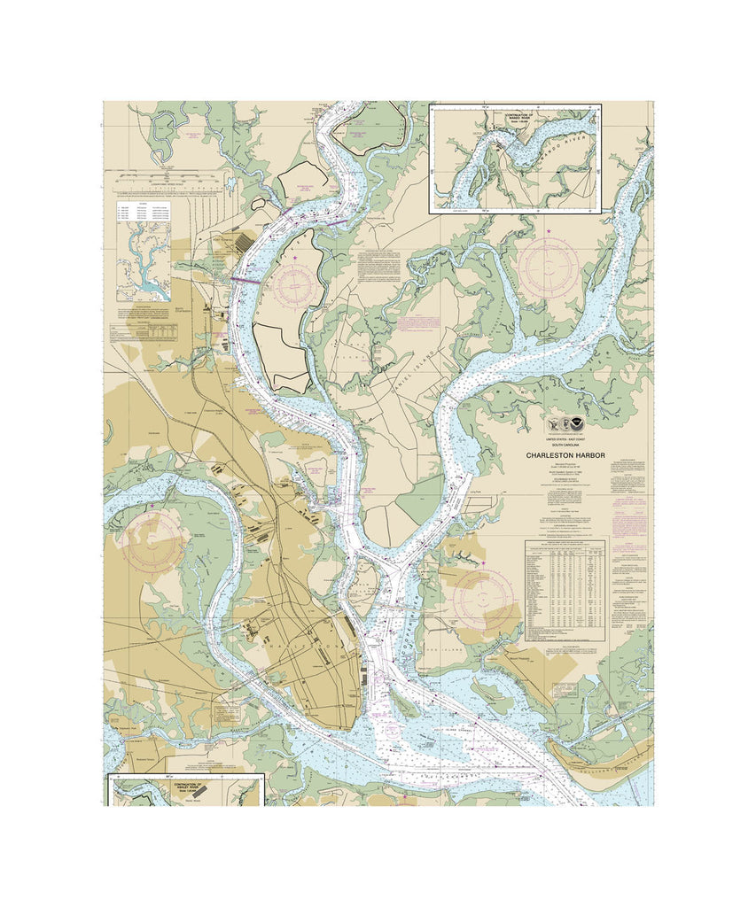 Charleston Harbor Nautical Chart Sailcloth Print
