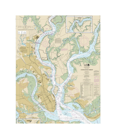 Charleston Harbor Nautical Chart Vinyl Print