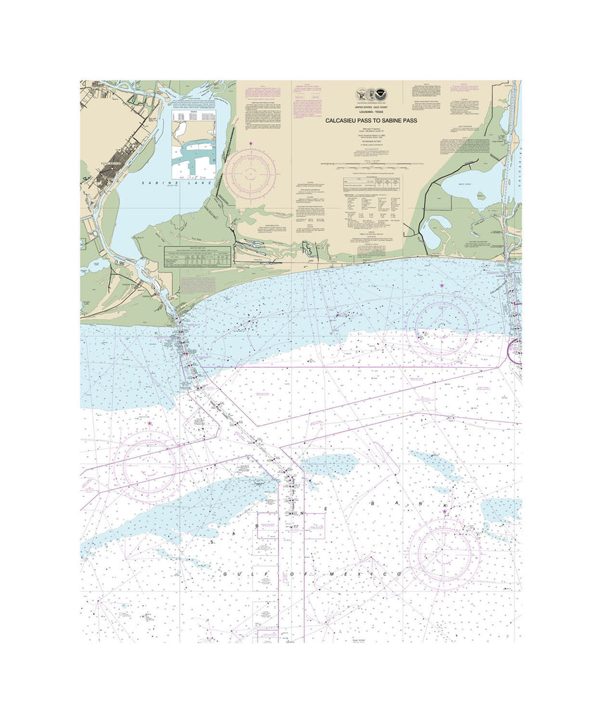 Calcasieu Pass To Sabine Pass Nautical Chart Sailcloth Print