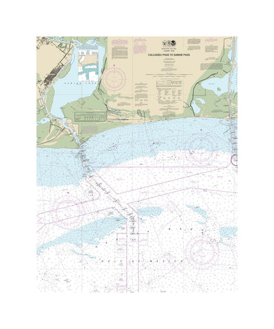 Calcasieu Pass To Sabine Pass Nautical Chart Vinyl Print