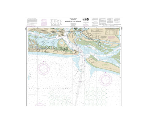 Morehead City Harbor Nautical Chart Vinyl Print