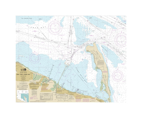 New York Lower Bay South Nautical Chart Vinyl Print