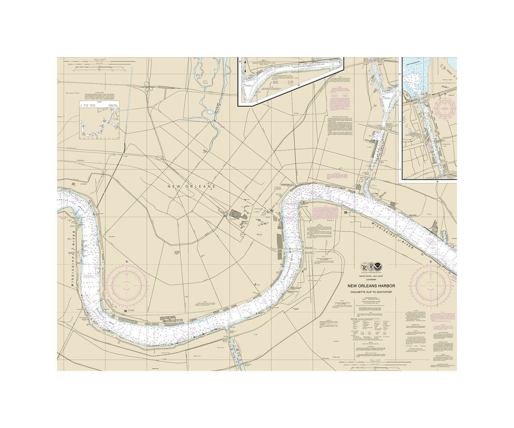 New Orleans Harbor Nautical Chart Sailcloth Print