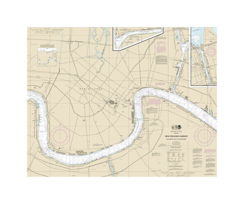 New Orleans Harbor Nautical Chart Vinyl Print