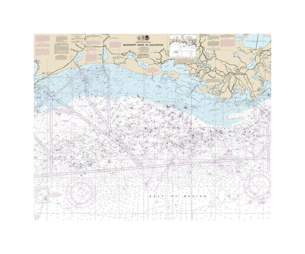 Mississippi River to Galveston Nautical Chart Sailcloth Print