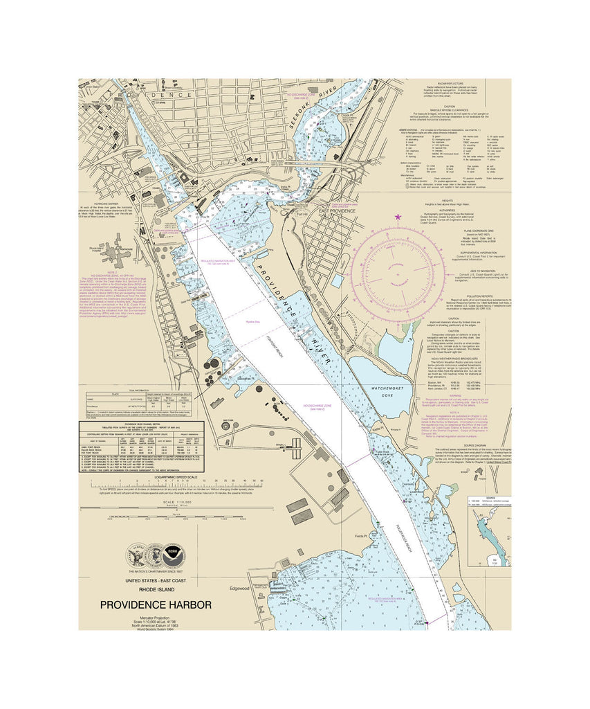 Providence Harbor Nautical Chart Sailcloth Print