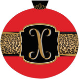 Leopard & Red Christmas Ornament Initial Door Hanger