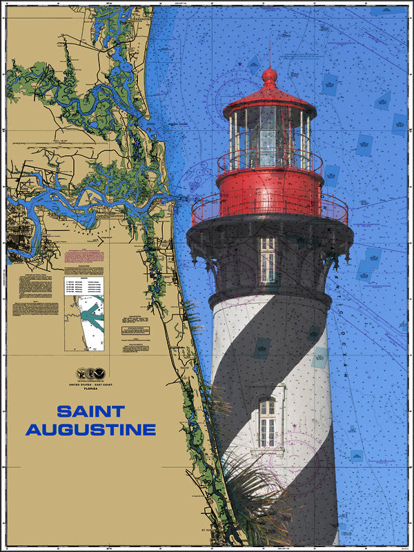 St. Augustine Lighthouse Nautical Chart Sailcloth Print