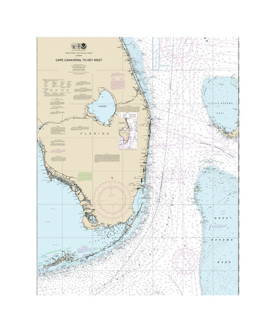 Cape Canaveral Nautical Chart Vinyl Print