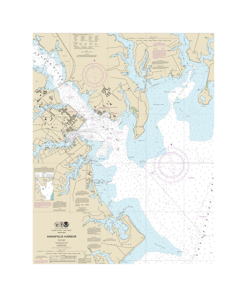 Annapolis Harbor - Chesapeake Bay Nautical Chart Vinyl Print