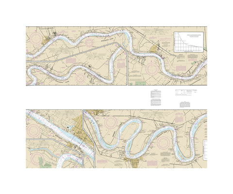 Mississippi River - New Orleans to Baton Rouge Nautical Chart Vinyl Print