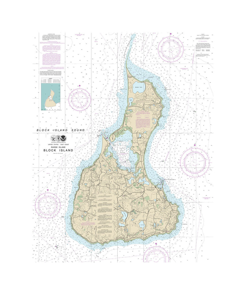 Block Island, Rhode Island Nautical Chart Sailcloth Print