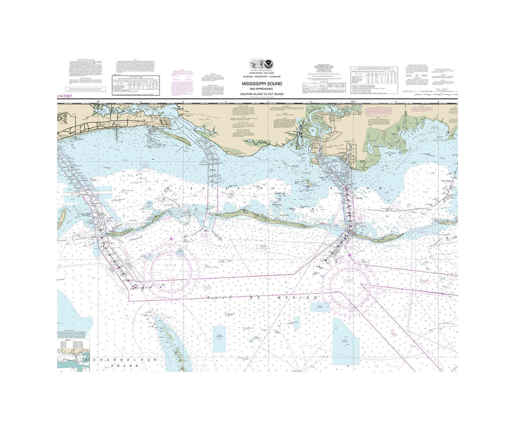 Mississippi Sound, Dauphin Island and Cat Island Nautical Chart Sailcloth Print
