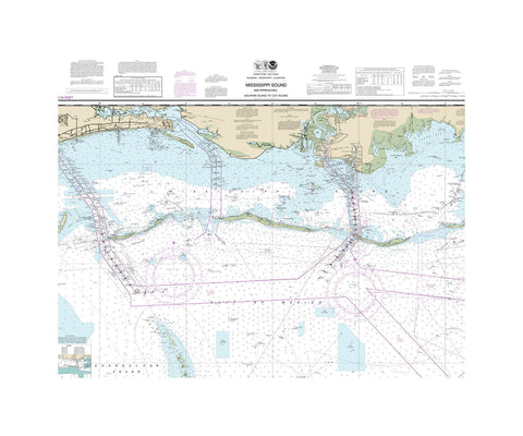 Mississippi Sound, Dauphin Island and Cat Island Nautical Chart Vinyl Print