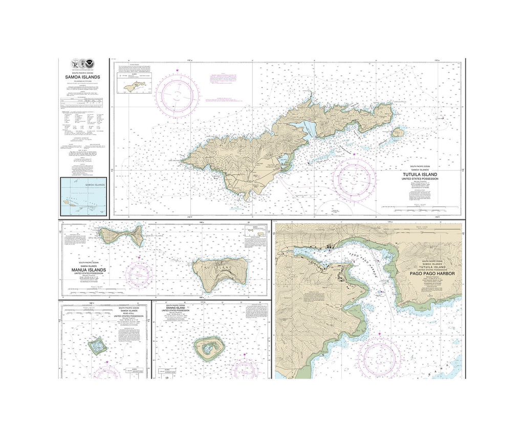 Somoa Islands Nautical Chart Sailcloth Print
