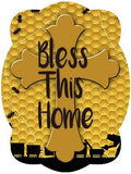 Cross On Honey Comb Background Door Hanger