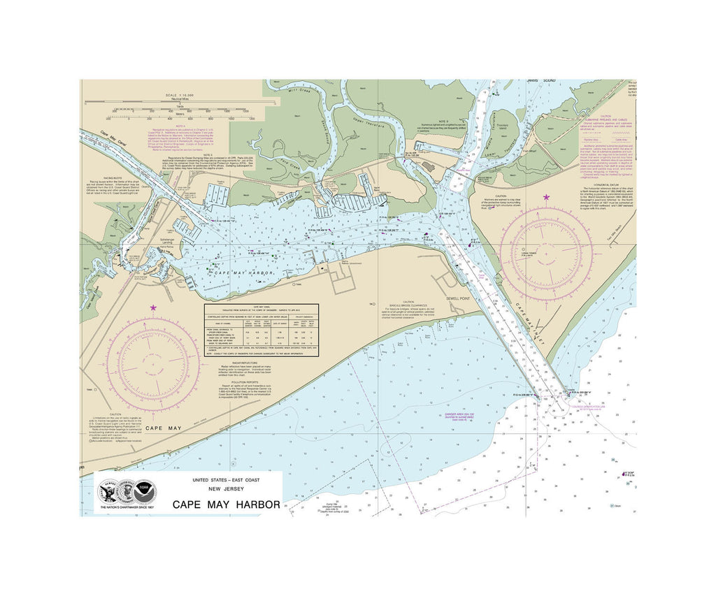 Cape May Harbor Nautical Chart Sailcloth Print