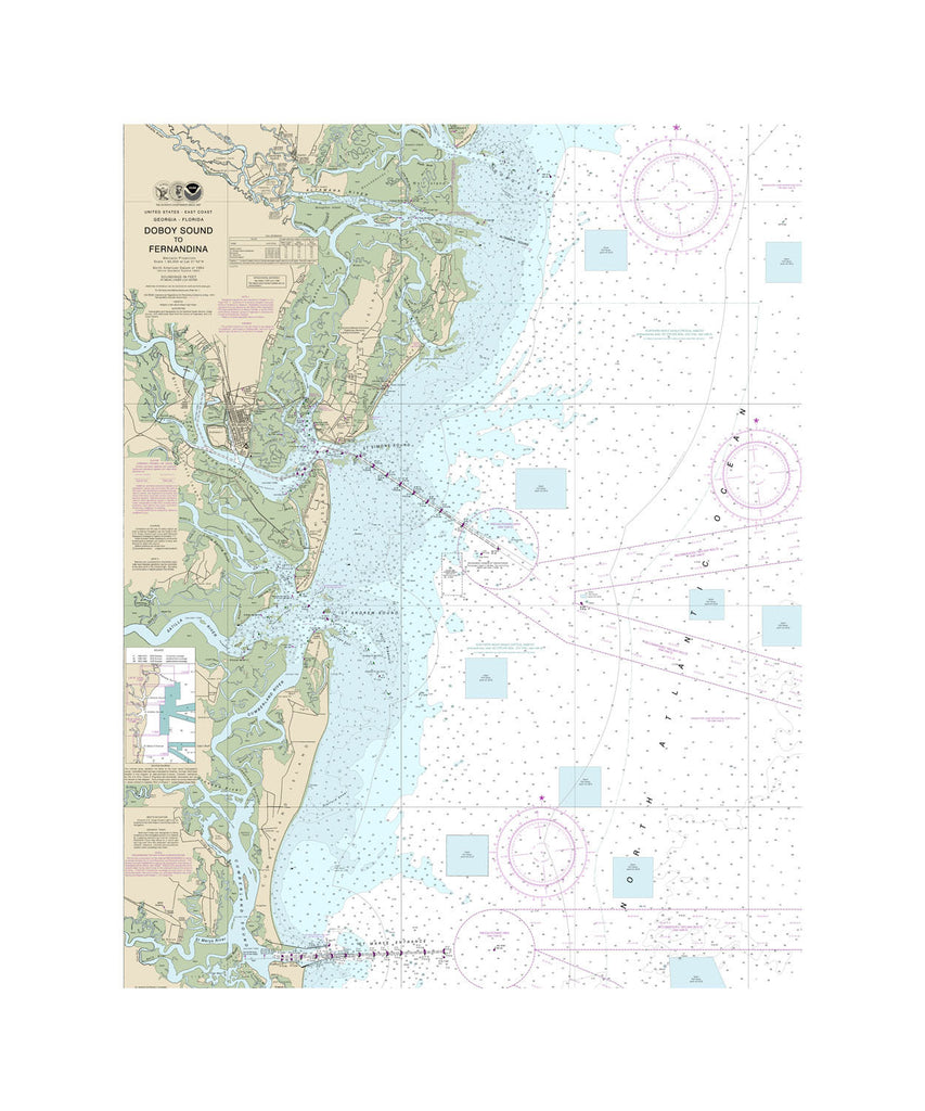 Doboy Sound Nautical Chart Sailcloth Print
