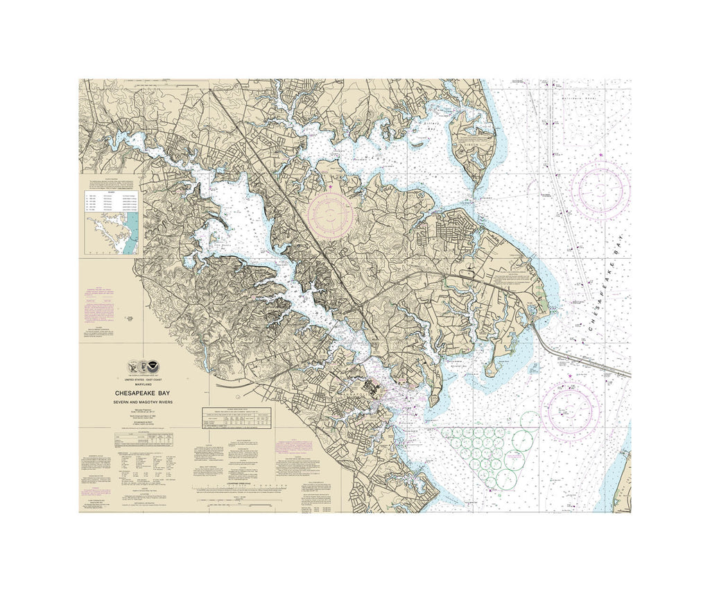 Chesapeake Bay Severn and Magothy Rivers Nautical Chart Sailcloth Print