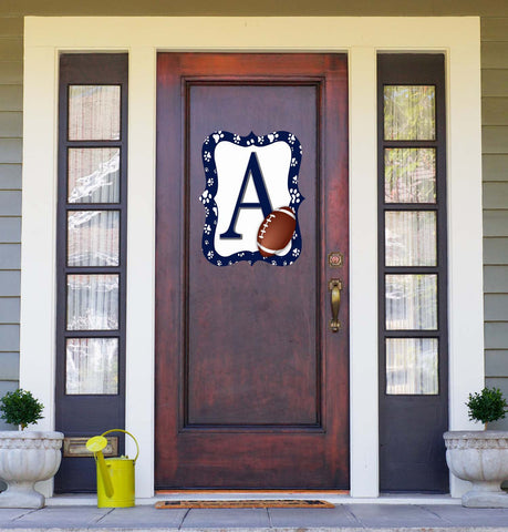 Navy Blue & White Paw Print Football Door Hanger