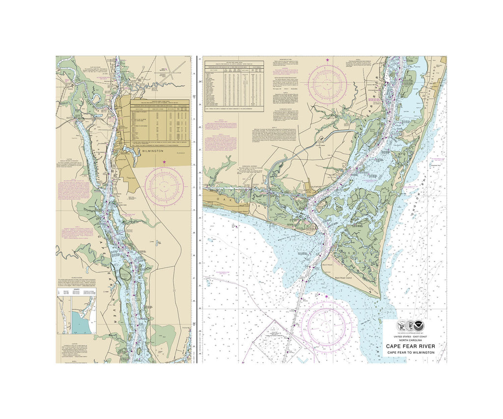 Cape Fear to Wilmington Nautical Chart Sailcloth Print
