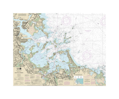 Boston Harbor Nautical Chart Vinyl Print