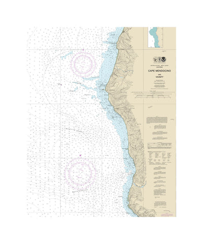Cape Mendocino, California Nautical Chart Vinyl Print