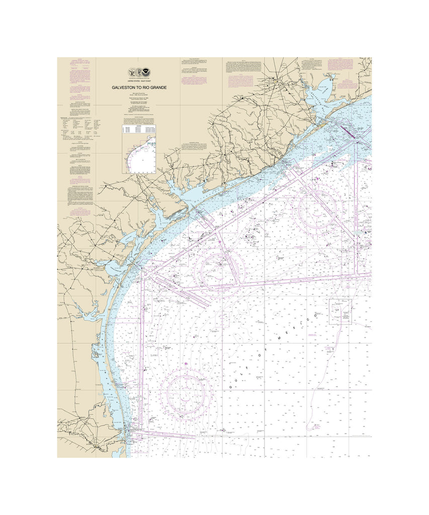 Galveston To Rio Grande Nautical Chart Vinyl Print