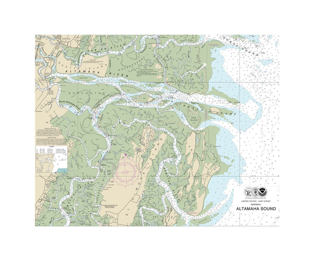 Altmaha Sound Nautical Chart Sailcloth Print
