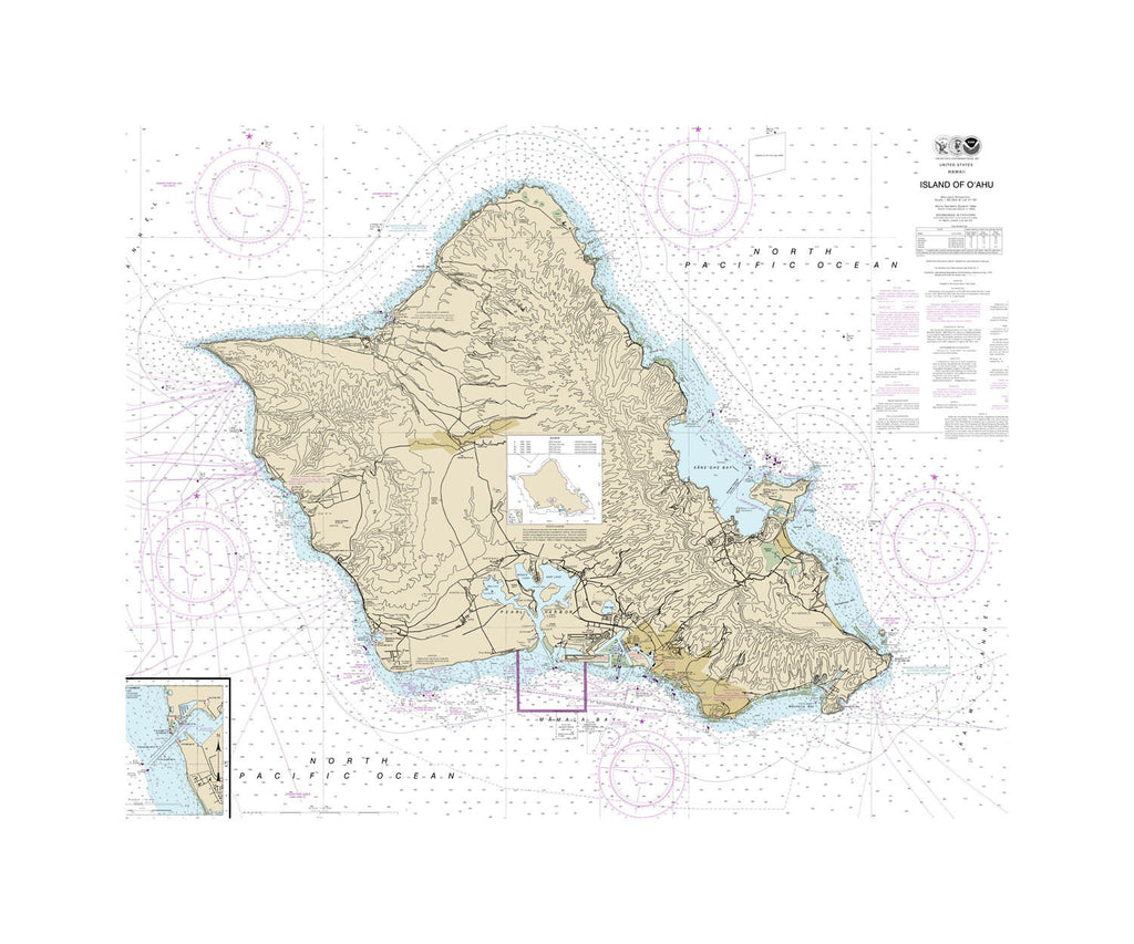 Hawaii Island of Oahu Nautical Chart Vinyl Print