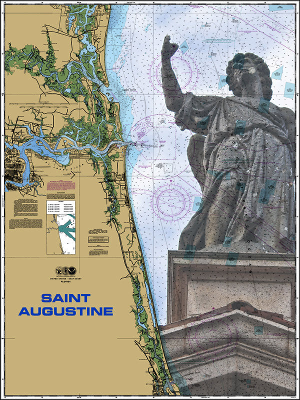 St. Augustine Monument Nautical Chart Sailcloth Print
