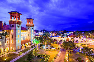 Downtown St. Augustine At Twilight Sailcloth Print