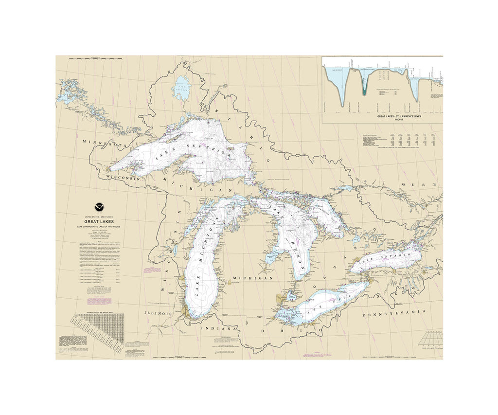 Great Lakes, Lake Chamlain to Lake Of The Woods Nautical Chart Sailcloth Print