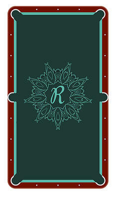 Monogram Frame R Billiards Cloth